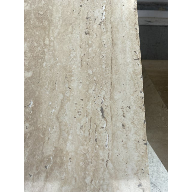 Faux Travertine Geometric Shapes Side Tables a Pair. For Sale - Image 10 of 13