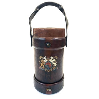 English World War II Leather Cannon Ball Carrier For Sale