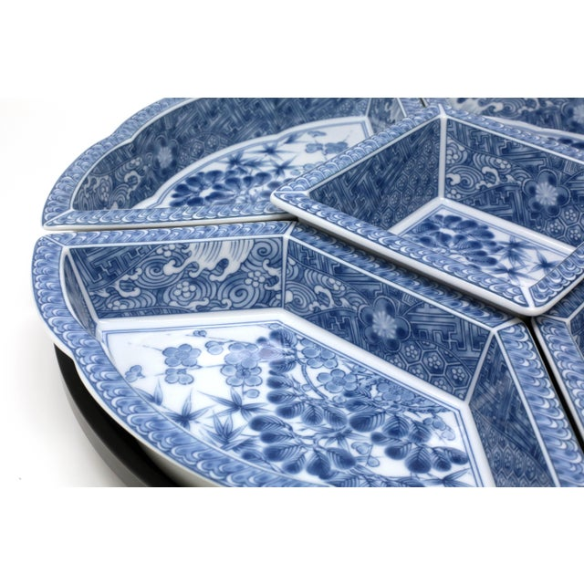 Vintage Japanese Blue and White Lazy Susan - Set of 6 For Sale In Tampa - Image 6 of 13