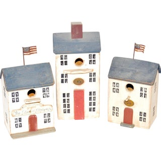 Original Bobby Huffman Folk Art Birdhouses - Set of 3 For Sale