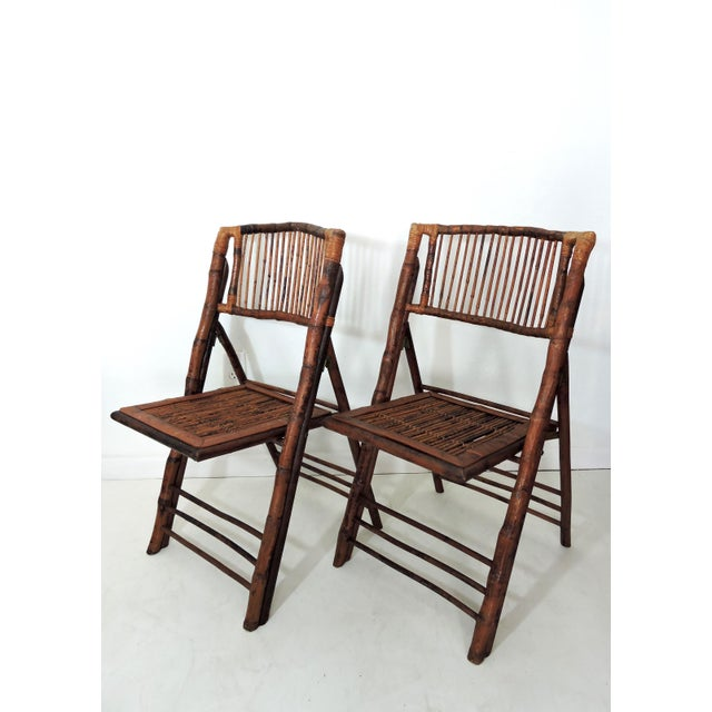 Vintage Folding Bamboo & Cane Dining/Side Chairs - a Pair (4 Pairs Avialable) For Sale - Image 4 of 8
