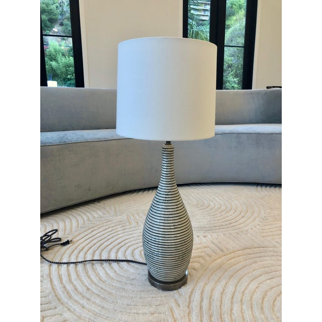Visual Comfort Ceramic Table Lamp With Shade For Sale In Los Angeles - Image 6 of 6