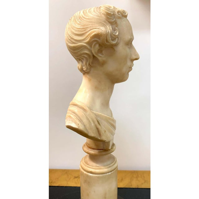 Italian Neoclassical Alabaster Portrait Bust of a Gentleman, by Insom Fece, 1839 For Sale - Image 11 of 12