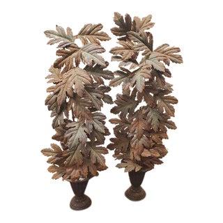 Italian Tôle Peinte Floral Urn Painted Metal Garnitures - a Pair For Sale