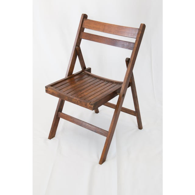 Mid-Century Slat Wood Folding Chair For Sale In Houston - Image 6 of 6