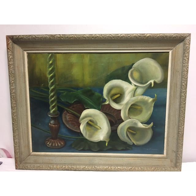 Signed Callalily Oil Painting For Sale - Image 10 of 10