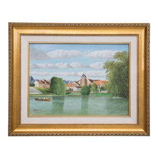 "Pierre Bazire ""Les Bords De La Marne"" Framed Oil Painting on Board For Sale"