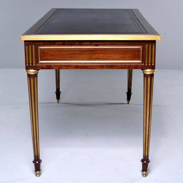 Louis XVI Style Mahogany Writing Desk With Brass Mounts For Sale - Image 4 of 13