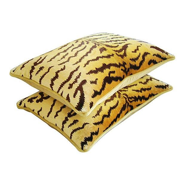 Custom Scalamandre Silk Le Tiger Pillows - A Pair - Image 5 of 6