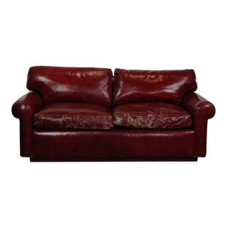 1970s Contemporary Red Faux- Leather Loveseat For Sale