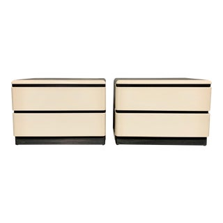 1980s Roger Rougier Post-Modern Lacquered Nightstands - a Pair For Sale