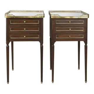 Pair 19th Century French Directoire Marble Top Nightstands For Sale