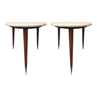 Pair of Gio Ponti Style Italian Marble-Top and Walnut Tables