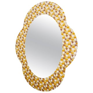 2000 Alessandro Mendini for Glas Italia Postmodern Orange Yellow Brown Mirror For Sale