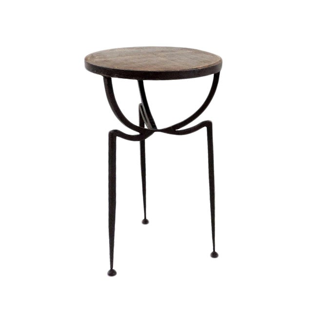 Wood & Iron Stool For Sale - Image 4 of 4
