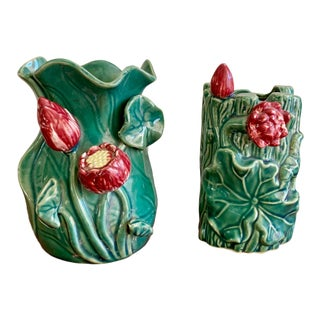Set of Two Majolica Style Asian Floral Vases For Sale