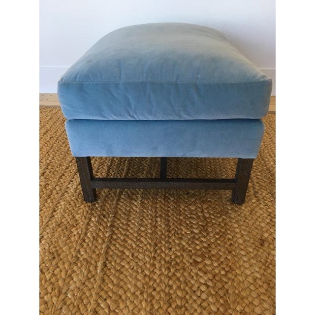 A. Rudin Blue Upholstered Ottoman - Image 4 of 11