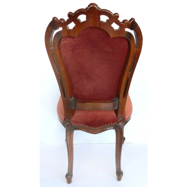 Louis XV Style Mahogany Dining Chairs With Carved Pierced Backs-Set of 6 For Sale In Miami - Image 6 of 12