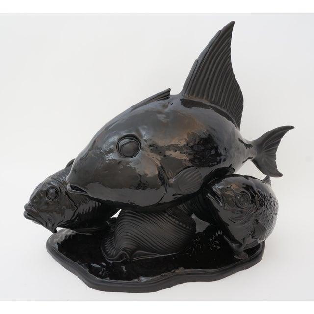 Art Deco 1930s Lejan Style Sculpture School of Fish in Black Ceramic For Sale - Image 10 of 12