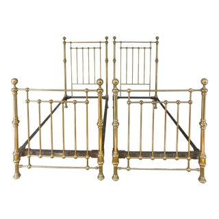 Antique Whitcomb High Quality Twin Solid Brass Beds - a Pair For Sale