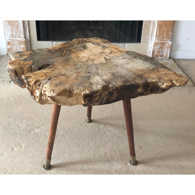 Live Edge Coffee Table Burl Wood Mid Century Style For Sale - Image 11 of 11