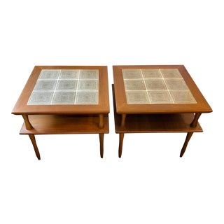 Teak and Porcelain Side Tables - a Pair For Sale