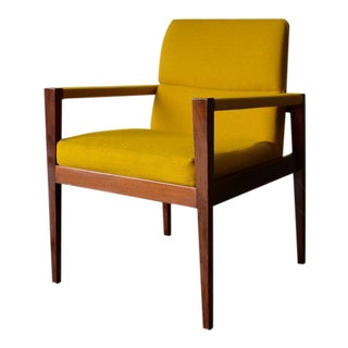 Jens Risom Mid Century Modern Walnut Armchair For Sale