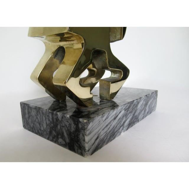 Vintage Mid-Century Large Modernist Brass Ram Sculpture on Marble Slab For Sale - Image 11 of 13