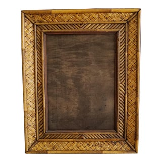 Mid-Century Modern Wicker & Rattan Wall Picture Frame For Sale