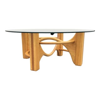 1990s Danish Modern Sculptural Bentwood and Glass Coffee Table For Sale