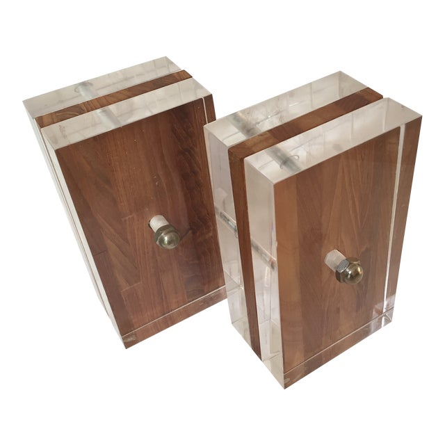 1970s Herb Ritts for Astrolite Lucite & Wood Bookends- a Pair For Sale