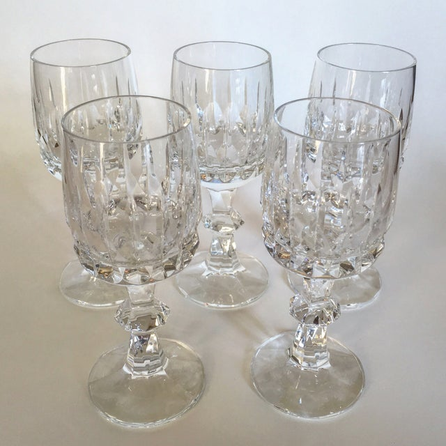 Antique Clear Cut Crystal Wine Goblets - Set of 5 - Image 2 of 4