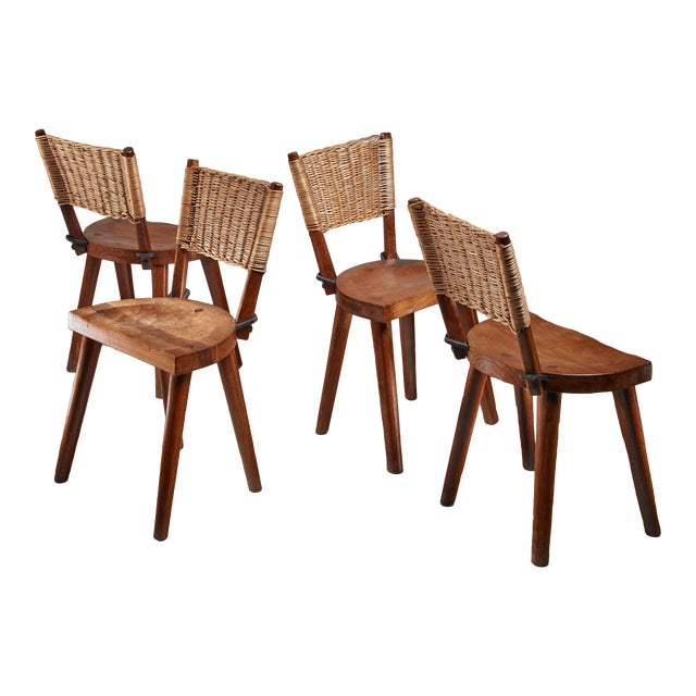 Jean Touret Set of Four Oak and Cane Dining Chairs for Marolles, France, 1950s For Sale