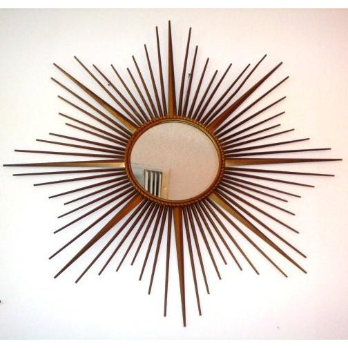 """Circa 1960's sunburst French mirror from Vallauris (on the French Riviera). """"Miroir Sorciere""""signed CHATY. Original..."""