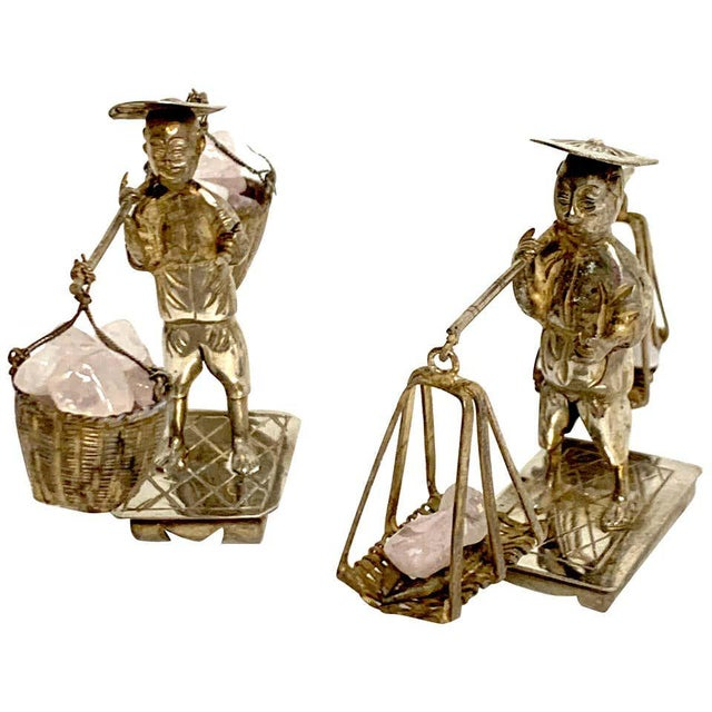 Chinese Export Sterling Figures of Labourers Carrying Rose Quartz - a Pair For Sale - Image 13 of 13