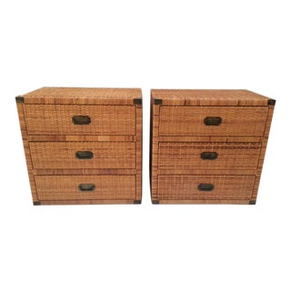 1980s Boho Chic Rattan Three Drawer Dressers - a Pair For Sale