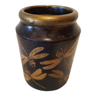 Late 19th Century Antique Pottery Jar With Dragonflies Decoupage For Sale