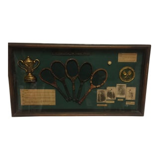 Vintage Shadow Box of The History of The Tennis Racket From the 1800's to the 1950's For Sale