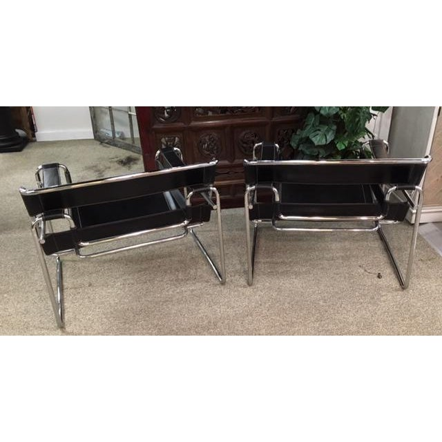 Black Pair Marcel Breuer Wassily Chairs For Sale - Image 8 of 9