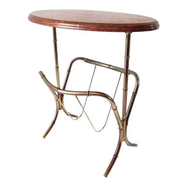 Vintage Mid-Century Modern Brass Faux Bamboo Side Table & Magazine Rack For Sale