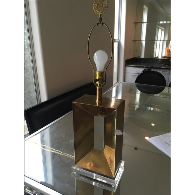 Brass & Lucite Table Lamps - A Pair - Image 10 of 11