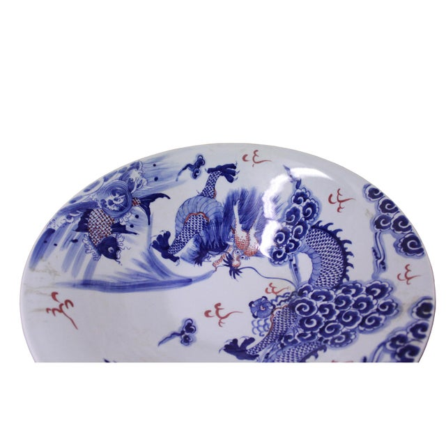 2010s Chinese Blue White Dragon Painting Porcelain Charger Plate Bowl For Sale - Image 5 of 9