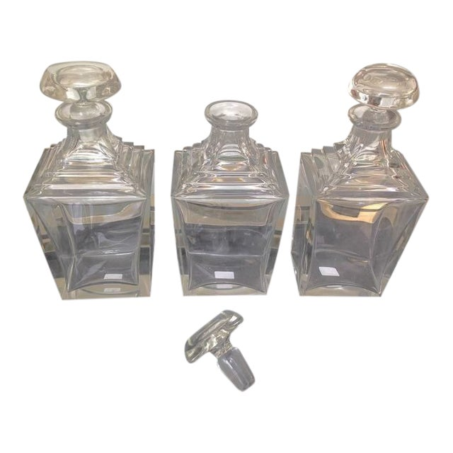Set of 3 Art Deco Thick Crystal Decanters For Sale