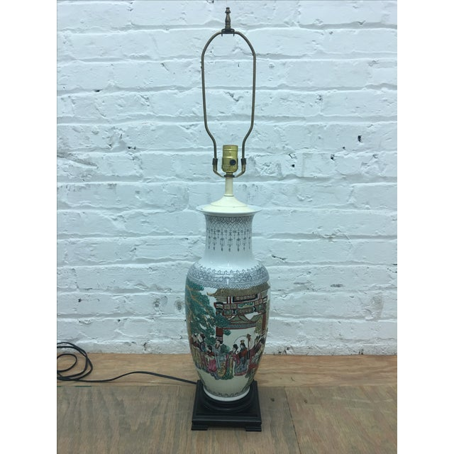 White Ornate Asian Motif Accent Lamp - Image 2 of 8