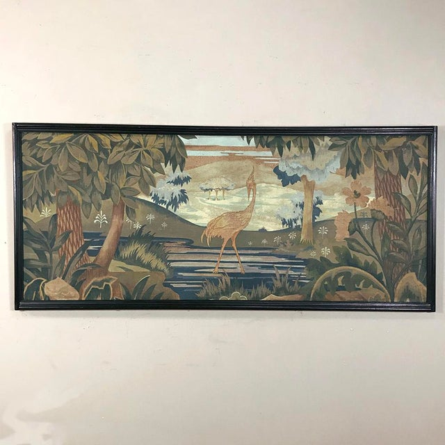 Depicting an exquisitely rendered avian scene, this Pair Art Deco Flemish Framed Tapestries will add subtle color and...