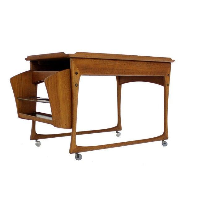 Danish Modern Rolling Teak Bar Cart For Sale In New York - Image 6 of 9