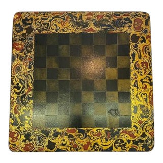 Antique English Papier Mache Painted Checkers Board For Sale