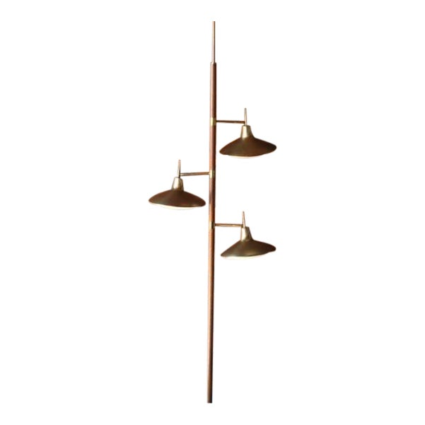 Mid-Century Brass & Wood Tension Pole Lamp - Image 1 of 11