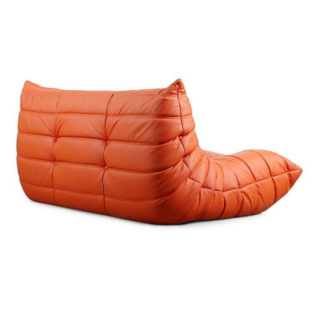 1990s Togo Loveseat in Orange Leather by Michel Ducaroy for Ligne Roset, France For Sale - Image 5 of 13