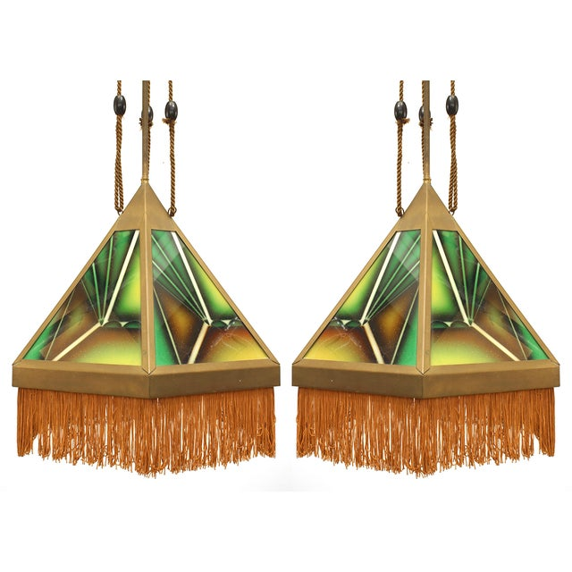 Early 20th Century Art Deco Green Glass Fringed Lanterns - a Pair For Sale - Image 5 of 5
